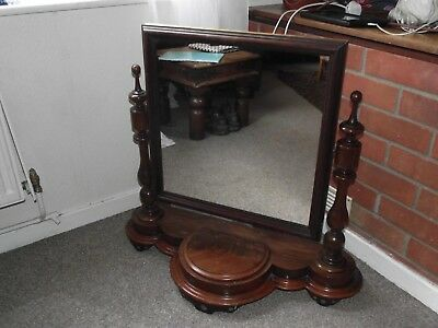 Antique Mahogany Victorian Dressing Table Mirror - with Jewellery Compartment
