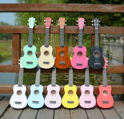 21'' Basswood Ukulele Portable Multi Colors Hawaii Tetrachord Beginners Guitar