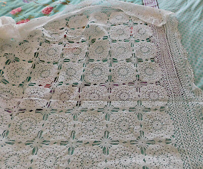 Vintage Crotcheted Lace Bedspread /Tablecloth 240 cms x 260 cms Unused