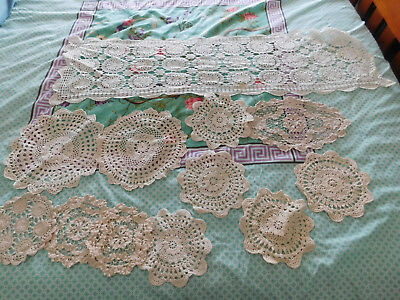 Estate Collection of Doilies X 11 & A Runner Crotcheted