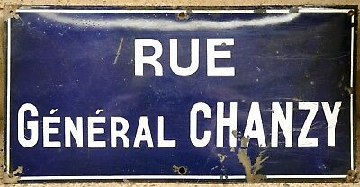 Old French enamel steel street sign plaque plate road name Rue General Chanzy