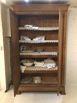 Antique Oak French Linen Cupboard From A Chateau In South of France 7.4Ft High