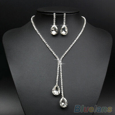 Bridal Wedding Silver Plated Rhinestone Necklace Earrings Jewelry Set Hot Cool