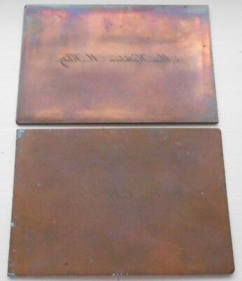 Antique copper printing plates x2 - calling cards - names in reverse Klitz