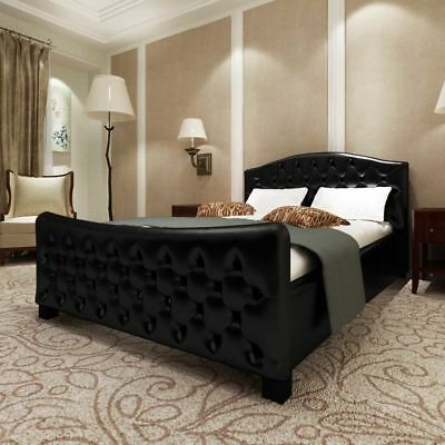 london schwarz doppelbett polsterbett bettgestell bett lattenrost kunstlederbett eur. Black Bedroom Furniture Sets. Home Design Ideas