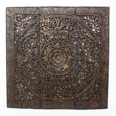 Hand-carved Black Stained Lotus Teak Wood Wall Panel  , Handmade in Thailand