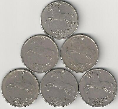 6 - 1 KRONE COINS with HORSE from NORWAY (1962, 1963, 1967, 1969, 1970 & 1972)