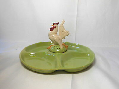 Vintage Unmarked Rosemeade Rooster Hors D'oeuvre Plate