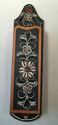 Norwegian Hand Painted  Rosemaling Wall Pocket Matchstick Box Wood Artist Signed