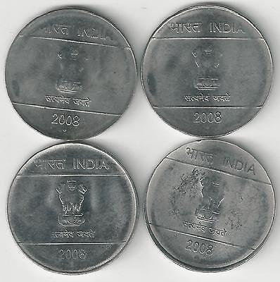 4 DIFFERENT 1 RUPEE COINS from INDIA (ALL 2008 with MINT MARKS of B/C/H/N)