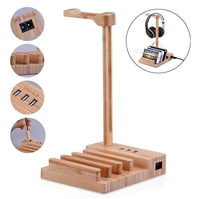 Bamboo Wood Headphone Stand USB Charging Station Dock Hub for Phone Tablet H5R1