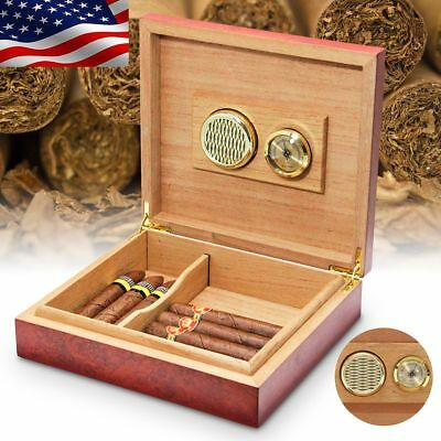 USA Cedar Wooden Lined Cigar Storage Case Box with Humidor Humidifier Hygrometer