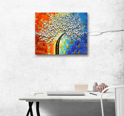 Canvas Abstract White Flower Wall Art Painting Picture Poster Print Home Decor