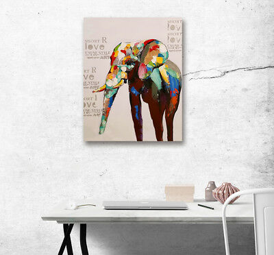 Abstract Painted Elephant Wall Art Painting Picture Canvas Poster Home Decor
