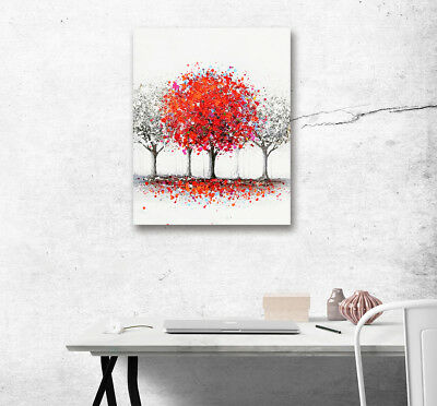 Abstract Red Flower Tree Wall Art Oil Painting Print Picture Canvas Home Decor