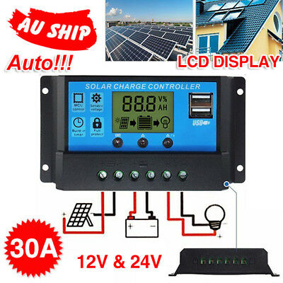 12V/24V Solar Panel Battery Regulator Charge Controller 30A PWM LCD Display A1 !