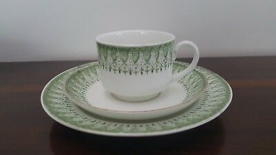 Rare 1880s Ruskin Green Trio - Cup, Saucer & Plate