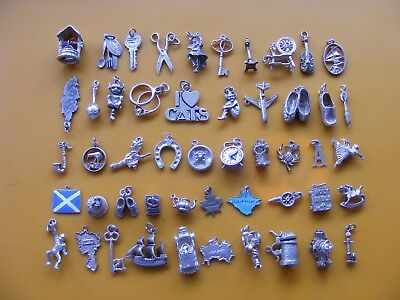 V Vintage Sterling Silver Charm Charms Witch Violin Key Pixie Clog Dart Clock A