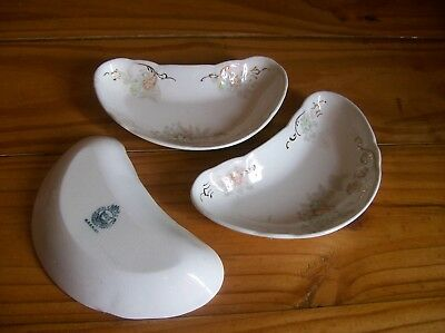 Set of 3 K.T. & K. Co. Semi-Vitreous Porcelain Bone Dishes