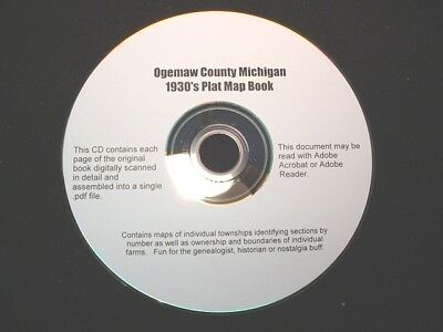 CD ~ 1930's Ogemaw County Michigan Plat Map Atlas