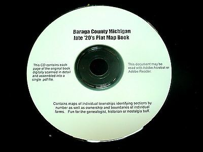 CD ~ late '20's Baraga County Michigan Plat Map Atlas