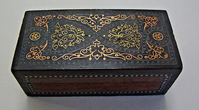 Antique Victorian inlaid with various metals trinket box