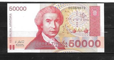 CROATIA #26a 1993 UNCIRCULATED 50000 DINARA OLD BANKNOTE PAPER MONEY CURRENCY