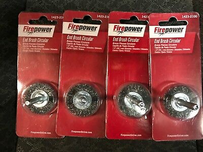 """Firepower End Brush Circular Wire Brush Lot Of 4 Brushes 1423-2100  1.5"""""""