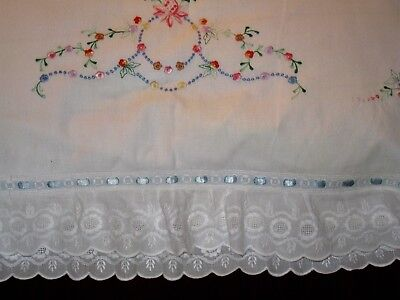 """ROMANTIC EMBROIDERED PILLOW SHAM w/LAYERS OF LUSCIOUS WHITEWORK RUFFLES~26X28"""""""