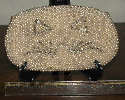 Vintage 1950's BEADED BAG with CAT Face - Purse Handbag Clutch Kitty Collectible