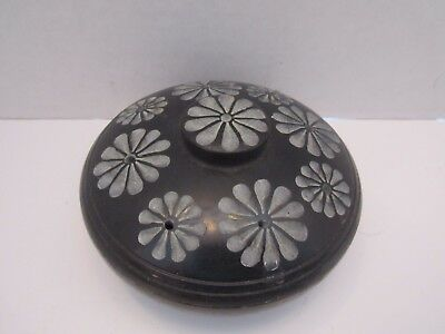 "Vintage Carved Marble Incense Holder Burner. Black W/ Flowers. 4"". 2 Pc. Holds 8"