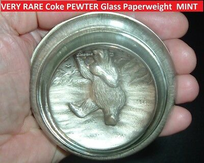 Vintage Coca Cola Polar Bear PEWTER GLASS Coke PAPERWEIGHT Advertising Coke!