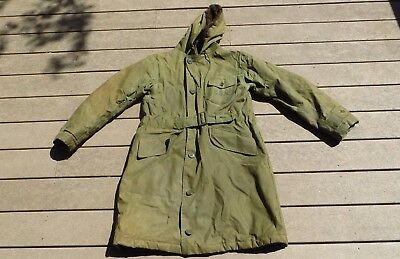 VINTAGE ORIGINAL WW2 US NAVY USN PARKA DECK JACKET COAT Rubberized SZ 42 STENCIL