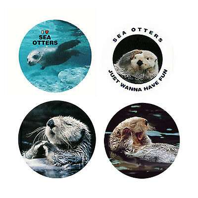 Sea Otter Magnets-B:  4 Charming Sea Otters 4 your home or collection-Great Gift