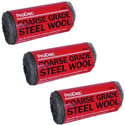 3 x 400g Prodec Coarse Grade 3 Steel Wool General Purpose Cleaning Metal Copper