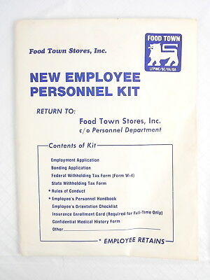 Vintage Food Town Stores New Employee Personnel Kit 1980s Food Lion LFPINC #5359
