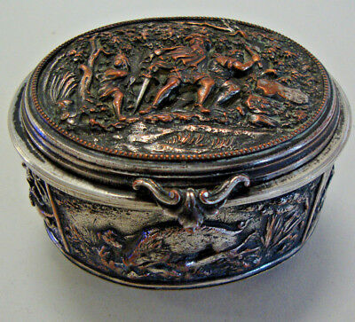 A late Victorian embossed silver plated oval trinket casket with hunting scenes