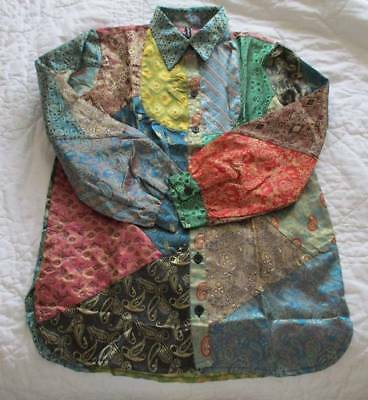 """Sacred Threads Blouse Tunic Top S Jacquard Satin Patch Ethnic Art2Wear Bust 42"""""""