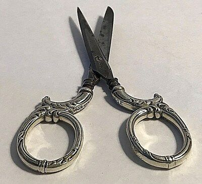 Antique Gorham Sterling Silver Sewing Pair Scissors Scrolls Handles #387