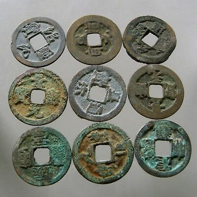 UNCLEANED HOARD FIND____9 SONG DYNASTY AE'S___900-1200 AD____Golden Age of China