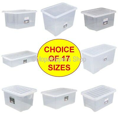 NEW Quality British Made Clear Plastic Storage Box Boxes With Lids - 17 Sizes