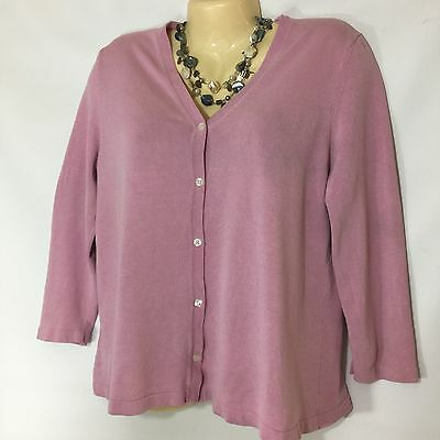 Woman's  Liz Lange Maternity button up cardigan pink 3/4 sleeve size M #D24