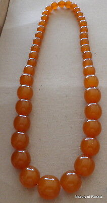 Antique Natural  butterscotch egg yolk Baltic Amber Round  Beads Necklace   90gr