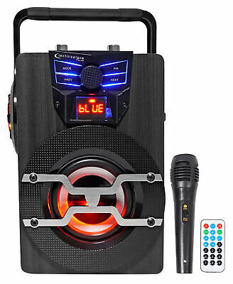 Technical Pro WASP420 Rechargeable Bluetooth Karaoke Machine System w/LED's+Mic