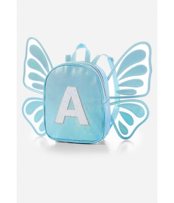 Justice Girls Butterfly Wing Blue Initial T Mini Backpack
