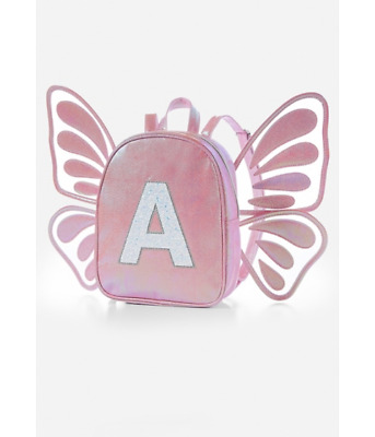 Justice Girls Butterfly Wing PINK Initial A Mini Backpack