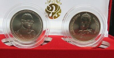 King Rama 9 & Queen Sirikit 10 & 20 Baht Thailand Coins w Box 1992 & 2006 Thai