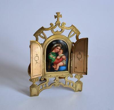 ANTIQUE RELIGIOUS FRAMED PORCELAIN MINIATURE PAINTING of MADONNA after Raphael
