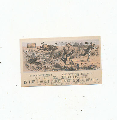 C8199  Victorian Trade Card Taunton Mass H.l Peck  Boots Shoes