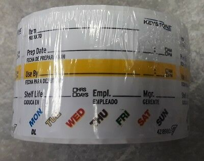 "Keystone Sysco Food Labels 500 ct 2"" x 3"" Removable Stickers Large Surface Peel"
